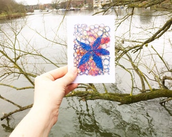 Blue flower embroidery art blank greetings card.