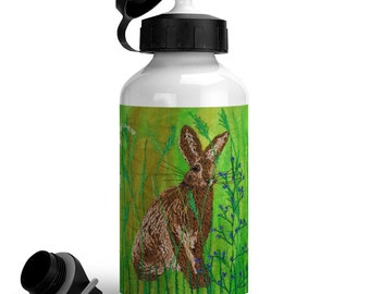 Hares and wildflowers. Sustainable reusable aluminium drinking bottle