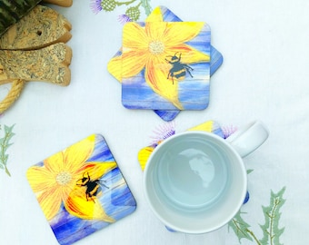 Bee embroidery art print on coasters / drinks mat
