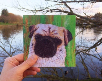 Pug dog greetings card