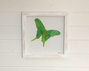 Green Butterfly Embroidery (30 x 30 cm)