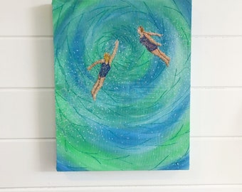 Swim in to the wild and be free' sea swimming embroidery original art wall hanging.  Perfect gift for outdoor loving open water swimmers.
