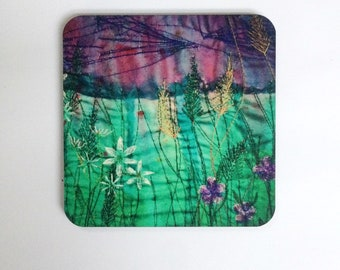 Wild garlic flower embroidery design coasters