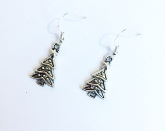 Christmas tree earrings ~ silver dress earrings ~ winter xmas jewelry gifts for mom ~ Christmas jewellery gift for her ~ handmade jewellery