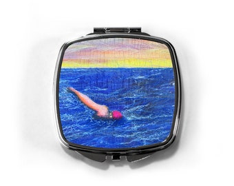 Compact Mirror 'sea swimmer at sunset' embroidery art print