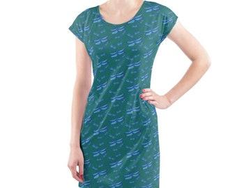 Beach dress.  Dragonfly blue hues illustration print.