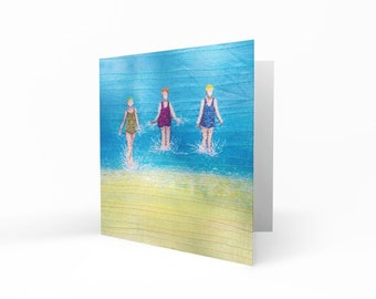 Greetings card 'Three sea swimming friends' embroidery art by Juliet Turnbull.  Pack of 5 or singles