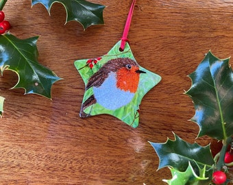 Ceramic star christmas tree decoration. Robin red breast embroidery art print by Juliet Turnbull