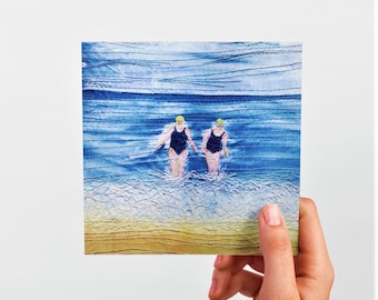 Greetings cards. Winter swimming friends embroidery art by Juliet Turnbull.  Pack of 5 or singles