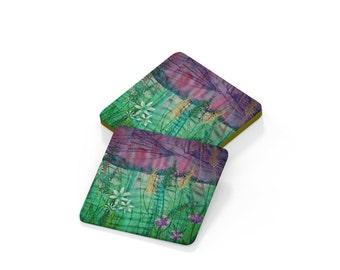 Coaster. Wild garlic flower embroidery design drinks mat
