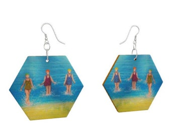 Wooden earrings. Three sea swimmers print of embroidery art