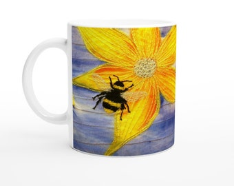 Ceramic Mug. Bee and flower embroidery art design 11oz Made to order.