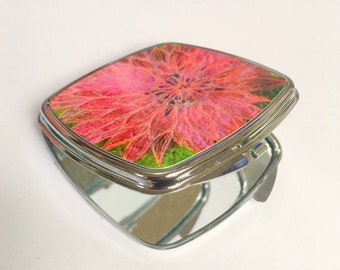 Compact hand mirror. Pink Dahlia flower embroidery art print.  By Juliet Turnbull