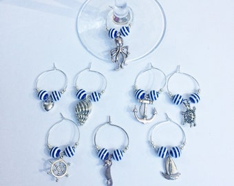 wine glass charms - Nautical style ~ set of 8 ~ beach style ~ seaside ~ boating