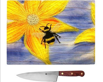 Glass Chopping Board Bee embroidery MADE TO ORDER
