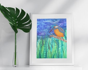Kingfisher Print A4. Embroidery art by Juliet Turnbull