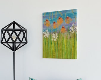 Echinacea, wildflowers and grasses picture.  Summer 2021 original embroidery art piece by Juliet Turnbull.