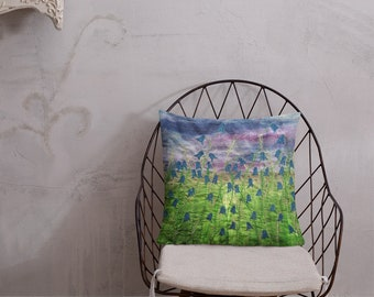 Cushion bluebell flowers embroidery art print on premium lounge seat pillow MADE TO ORDER