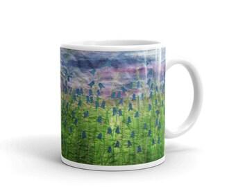 Ceramic mug Bluebell embroidery art design