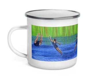 Enamel Mug. After swim playtime embroidery art print.