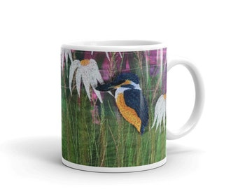 Ceramic Mug.  Kingfisher and wildflower embroidery art design 11oz  By Juliet Turnbull