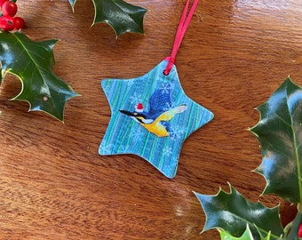 Ceramic star christmas tree decoration. Kingfisher with santa hat embroidery art print by Juliet Turnbull