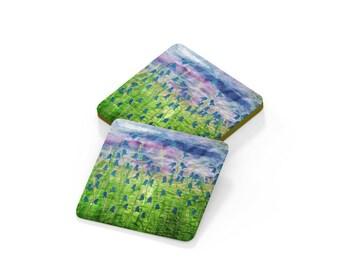 Coaster.  Bluebell flower embroidery design drinks mats