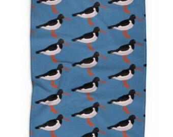 Kitchen tea towel Oyster catcher on blue