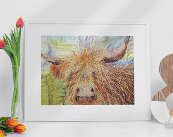 Highland cow Print A4.  Embroidery art by Juliet Turnbull.