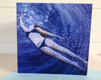 Greetings cards.  Swim wild and free underwater swimming card by Juliet Turnbull. Pack of 5 or singles