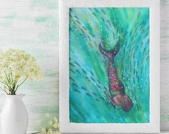 Original art.  Swim wild and free mermaid and fish.