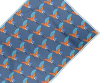 Swim towel. Kingfisher print design. MADE TO ORDER  By Juliet Turnbull