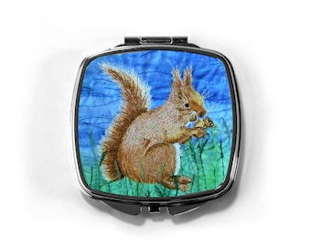 Compact hand mirror. Red Squirrel embroidery art design.  By Juliet Turnbull