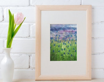 Art print picture. Bluebell flower embroidery art print.  By Juliet Turnbull