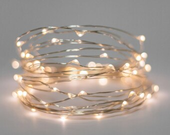 Fairy lights - Battery light string - silver copper wire & warm white lights -  wedding decor - wedding lights - christmas lights -  5 / 10