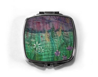 Compact hand mirror.  Wildflower embroidery art print