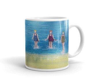 Ceramic Mug. Three sea swimming friends embroidery art printed  MADE TO ORDER