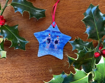 Ceramic star christmas tree decoration. Winter swimming friends embroidery art print by Juliet Turnbull