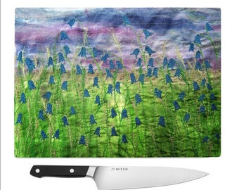 Glass Chopping Board bluebell flowers print - Unique gifts for mother's day, friends, mum, kitchen, new home,nature lover, artist,