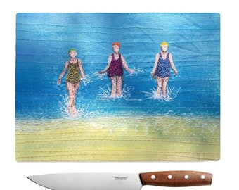 Glass chopping board three sea swimming friends embroidery art print MADE TO ORDER