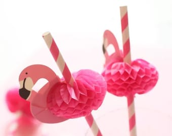 10 flamingo straws ~ flamingo party ~ pink party ~ flamingo drinks ~ hen party ~ drinks party ~ wedding decor ~ birthday party PACK OF 10