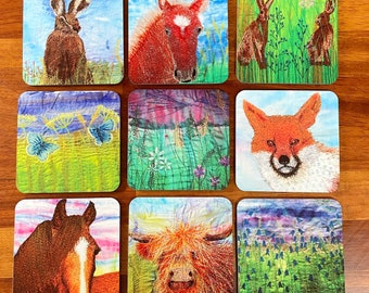 Set of 5. Drinks coasters wildlife and floral.  Choose your own selection from the available designs in the photos.