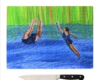 Glass Chopping Board after swim playtime MADE TO ORDER
