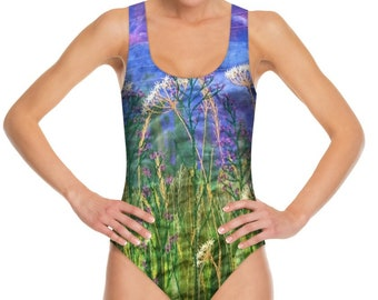 Swimming costume.  Wildflowers embroidery art print swimsuit by Juliet Turnbull MADE TO ORDER