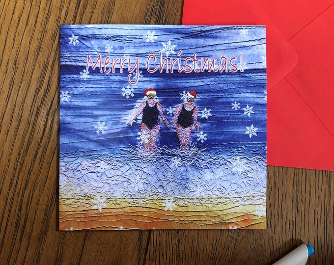Featured listing image: Greetings card. Merry Christmas winter swimming friends.