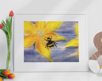 Art print picture. Bumble bee of yellow flower embroidery art print.  By Juliet Turnbull