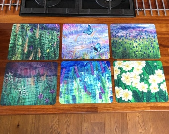 6 Table placemats. Wildflowers and open water swimming embroidery art prints.  Choose a set of 6 matching or mixed designs.