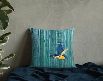 Cushion kingfisher river bird embroidery art print on premium chair