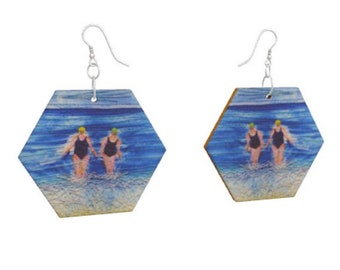 Wooden earrings. Winter swimmers print of embroidery art