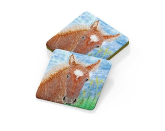Foal coaster embroidery art print on drinks mat